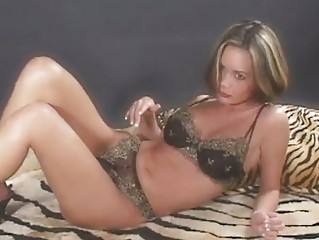 Lovely babe Crissy Moran sliding her hands in her panties and loves it