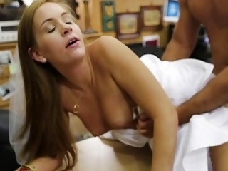 Woman in her wedding dress pounded hard