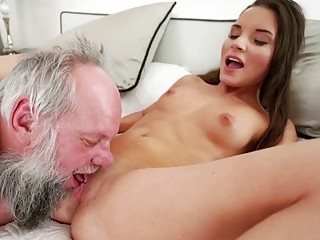 Ugly and old grandpa eagerly fucks Anita Bellini's young snatch