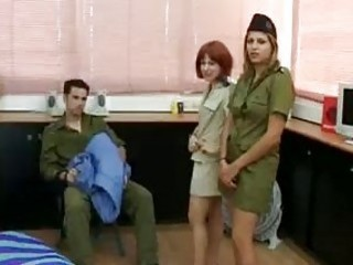 Two Israeli army girls eagerly share sergeant's big trouser snake