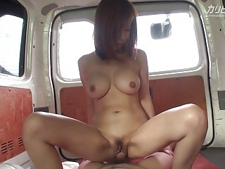 Asian hottie with big tits fucked in the car POV
