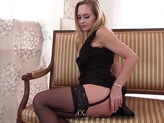 Big booty MILF in black lingerie teases and masturbates solo