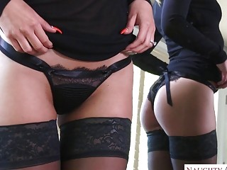 Classy blonde in black lingerie pounded after erotic oral foreplay