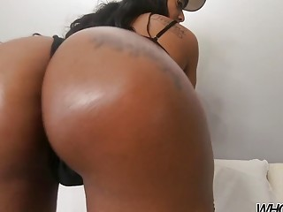 Curvaceous ebony hottie with a big ass anal pounded rough