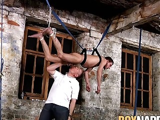 Restrained sub twink tormented on balls