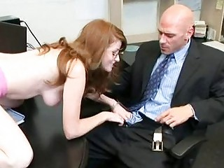 Naughty redhead secretary gets her twat drilled in the office