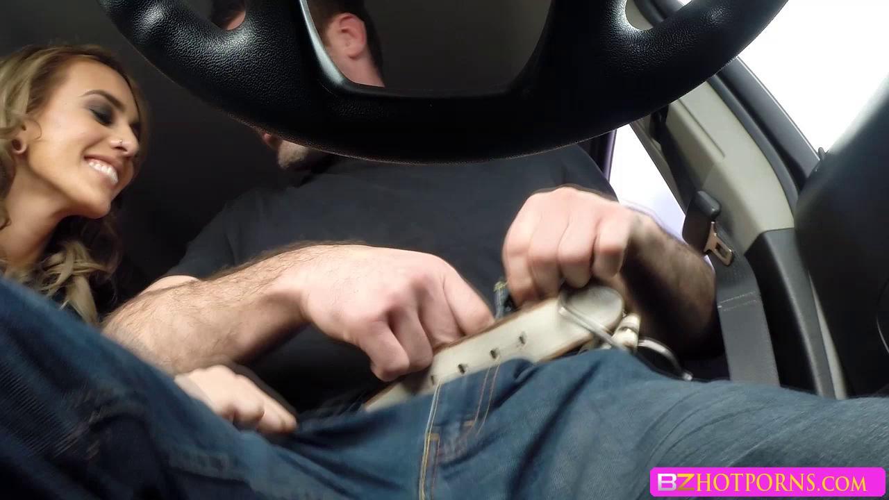 Chubby Blonde Car Blowjob